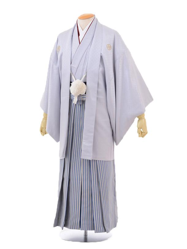 成人式卒業式袴レンタル(男)D029グレーシルバー紋付×紺シルバー袴袴