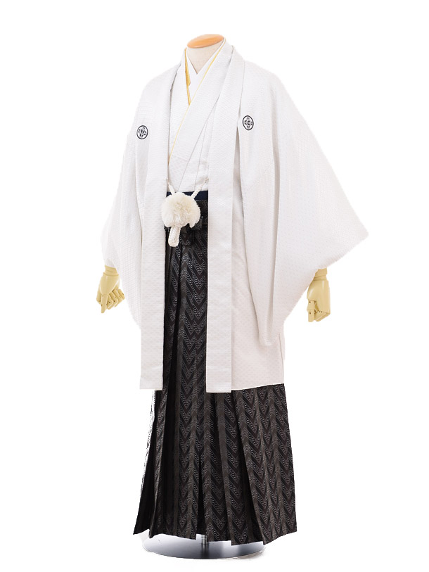 成人式卒業式袴レンタル(男)D033白ゴールド菱紋付×黒袴