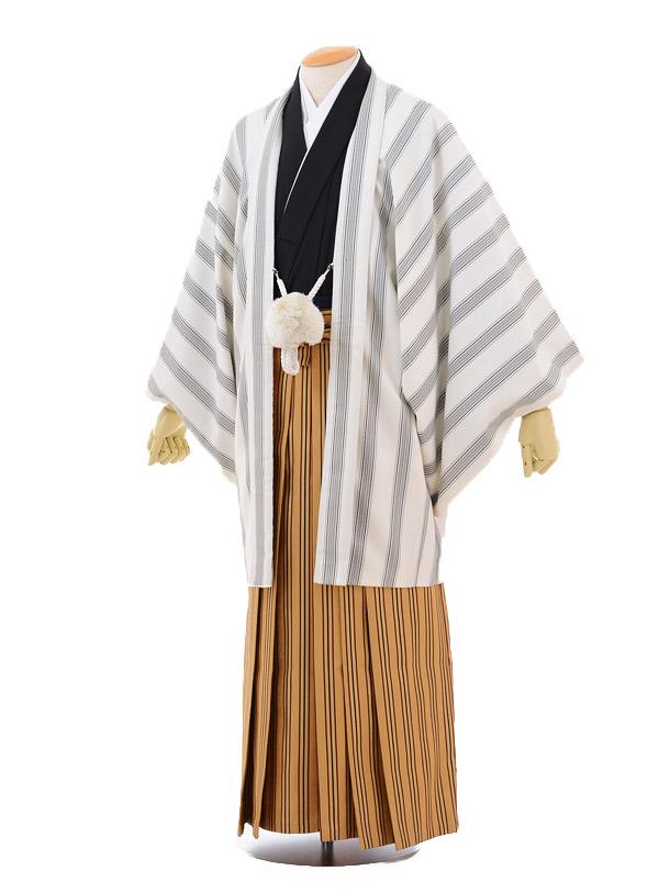 成人式卒業式袴レンタル(男)D040白ストライプ羽織からし色ストライプ袴