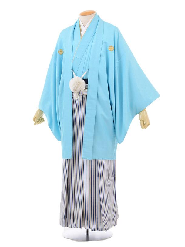 成人式卒業式袴レンタル(メンズ)D043水色紋付×紺シルバー袴