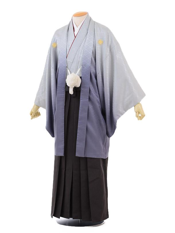 成人式卒業式袴レンタル(メンズ)D045グレーぼかし紋付×黒ストライプ袴