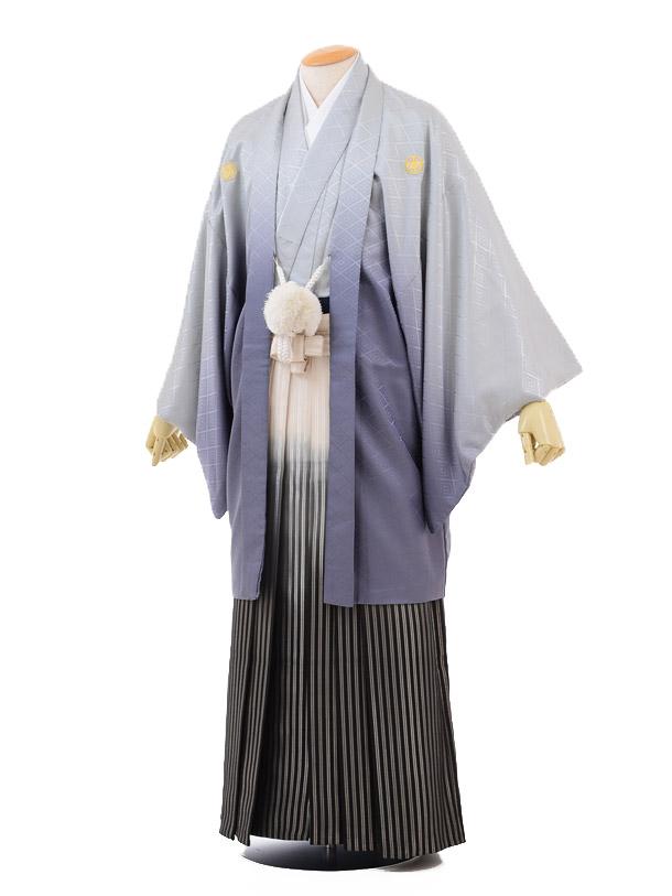成人式卒業式袴レンタル(メンズ)D046グレーぼかし紋付×黒シルバーぼかし袴