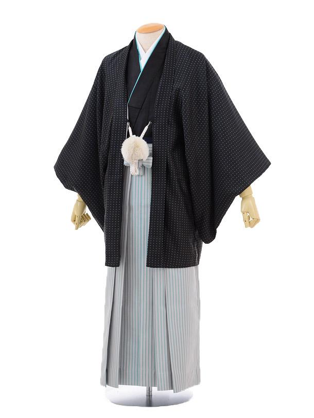 成人式卒業式袴レンタル(メンズ)D050黒ドット羽織×水色シルバー袴