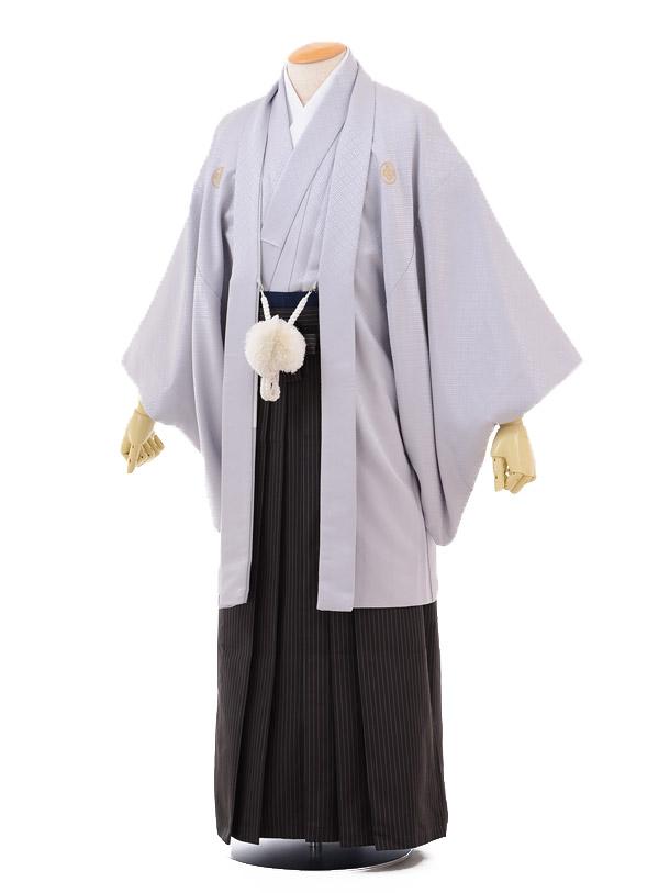 成人式卒業式袴レンタル(メンズ)D053グレー紋付×黒ストライプ袴