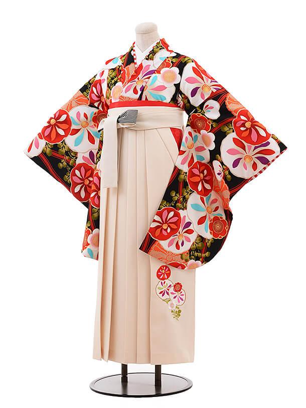 卒業袴レンタル h070 JAPAN STYLE×中村里砂 黒×クリーム色