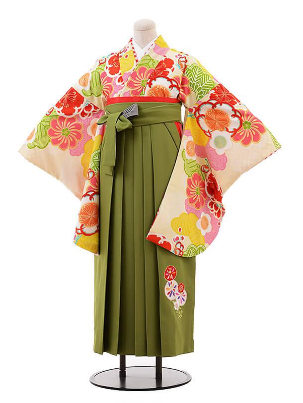卒業袴レンタル h071 JAPANSTYLE×中村里砂 クリーム色×グリーン