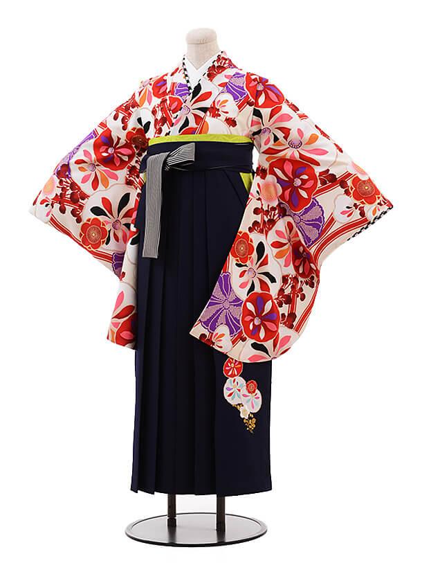 卒業袴レンタル h072 JAPAN STYLE×中村里砂 白×紺