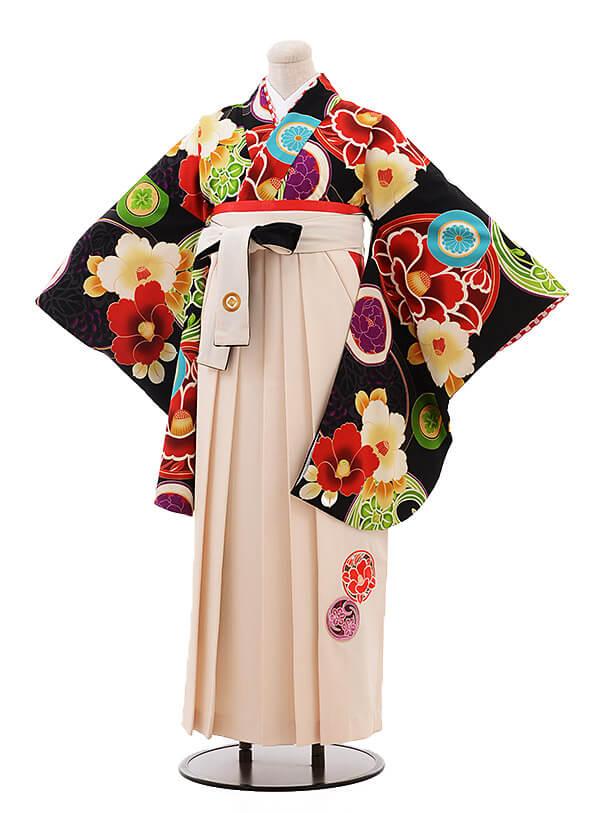 卒業袴レンタル h074 JAPAN STYLE×中村里砂 黒×クリーム色