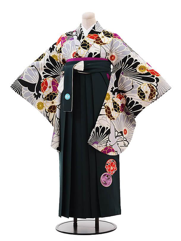 卒業袴レンタル h075 JAPAN STYLE×中村里砂 白×グリーン