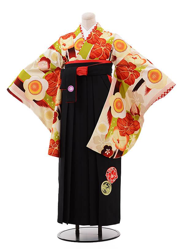 卒業袴レンタル h077 JAPAN STYLE×中村里砂 クリーム色×黒