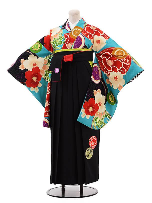 卒業袴レンタル h078 JAPAN STYLE×中村里砂 ターコイズ×黒