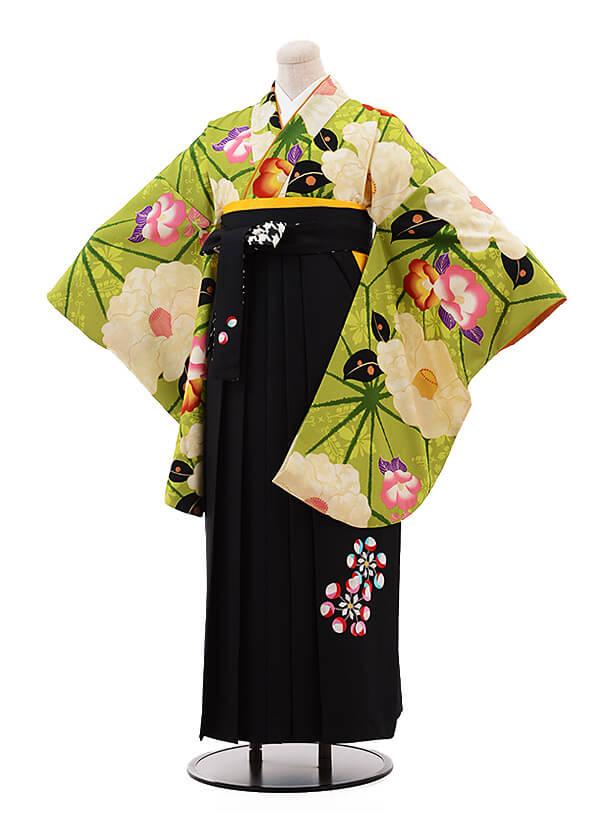 卒業袴レンタル h080 紅一点×EMMA グリーン×黒