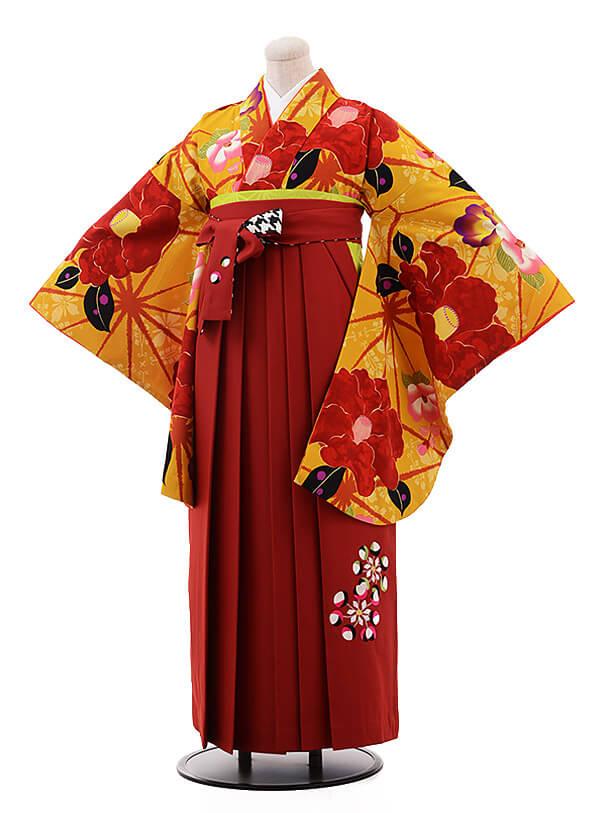 卒業袴レンタル h081 紅一点×EMMA からし色×エンジ色