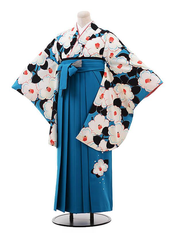 卒業袴レンタル h085 九重 ブルー×ブルー