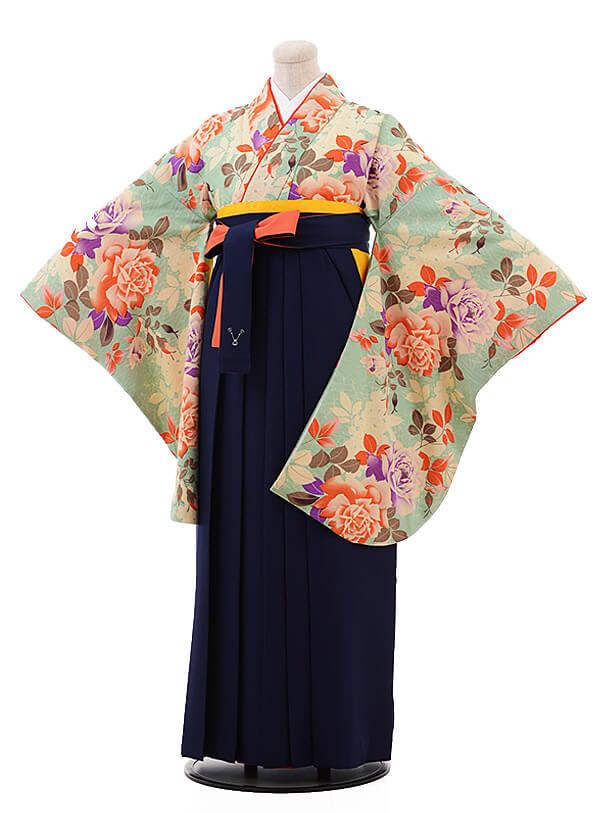 卒業袴レンタル h088 モダンアンテナ グリーン×紺