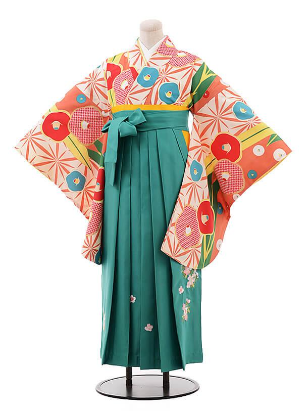 卒業袴レンタル h090 サーモンピンク椿×ターコイズ
