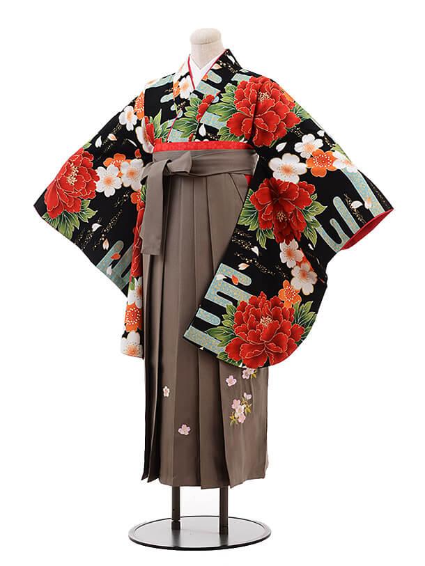 卒業袴レンタル h092 ひいな(着物のみ) 黒地ぼたん桜×グレージュ
