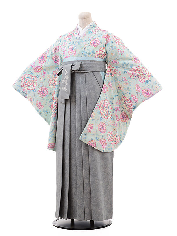 袴レンタルh097 JILLSTUARTパステルグリーン×グレーグリーン