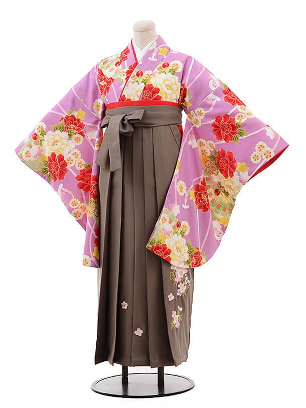 卒業袴レンタルh102 ひいな(着物のみ)パープル地 ぼたん×グレージュ