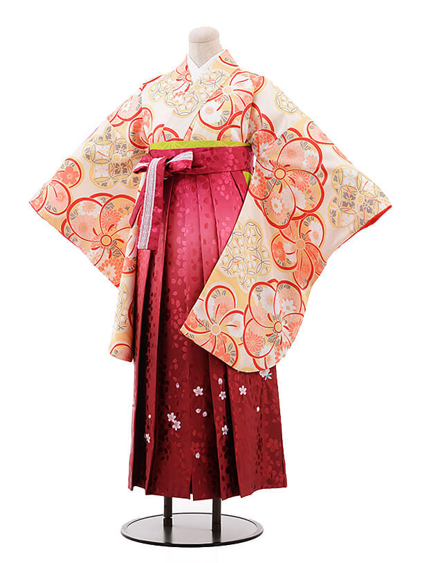 卒業袴レンタル h111 クリーム色 ねじり梅×赤ぼかし