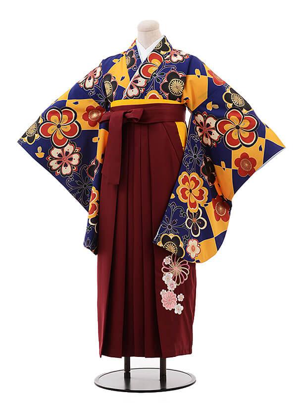卒業袴レンタル h112 ROYAL PARTY(着物のみ)紺地 梅×エンジ色