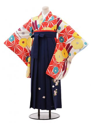 卒業袴レンタルh115白地 椿×紺(着物のみROYALPARTYブランド)