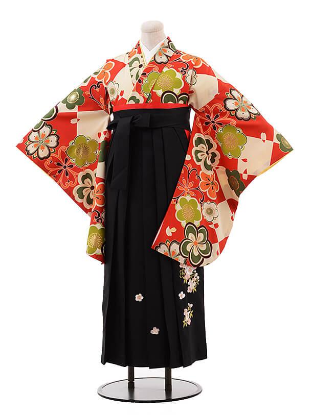 卒業袴レンタル h116 ROYAL PARTY(着物のみ) 赤地 梅×黒