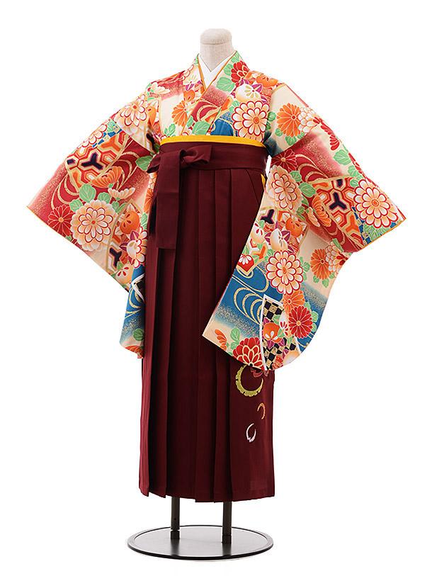 卒業袴レンタル h118 ひいな クリーム 赤ぼかし 花×エンジ袴