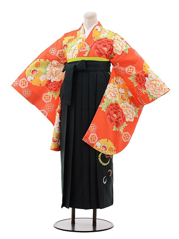 卒業袴レンタル h120 ひいな オレンジ地 ぼたん×グリーン袴