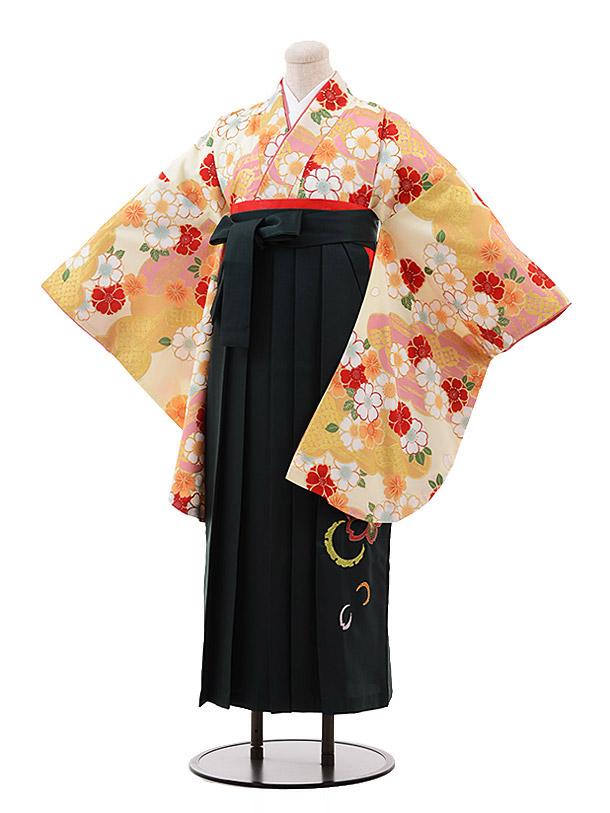 卒業袴レンタル h121 ひいな クリーム地 桜×グリーン袴