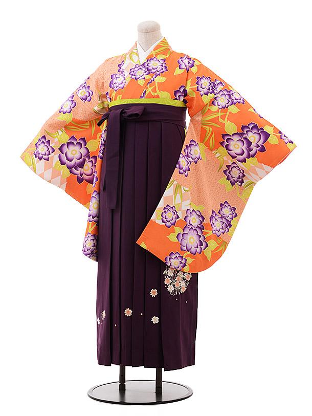 卒業袴レンタル h126 オレンジ 花×パープル袴
