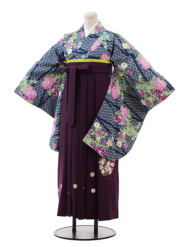 卒業袴レンタル h127 紺 緑 花×パープル袴