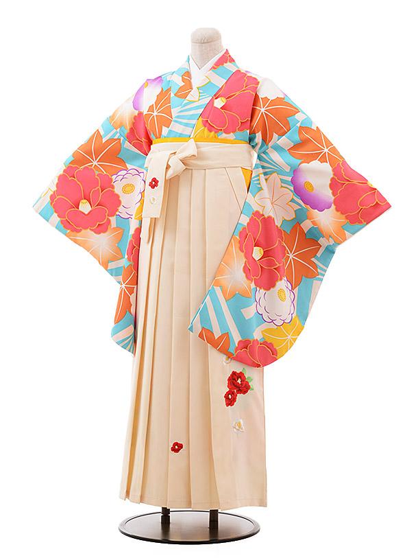 卒業袴レンタル h129 ターコイズ 白 椿×クリーム袴