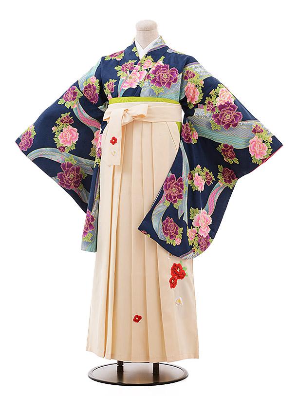 卒業袴レンタル h130 紺 緑 ぼたん×クリーム袴