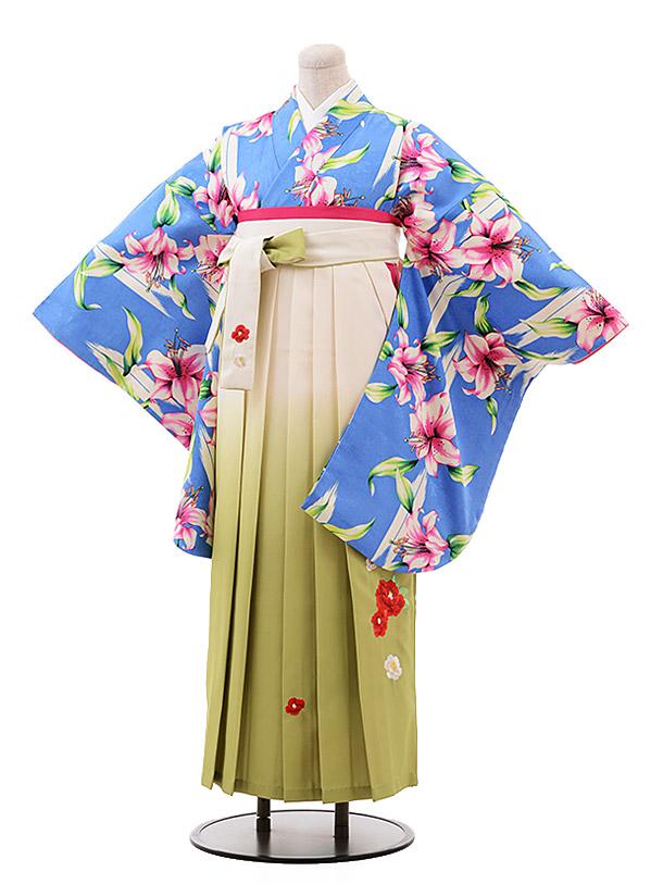 卒業袴レンタル h131 ブルー地 ゆり×クリームぼかし袴