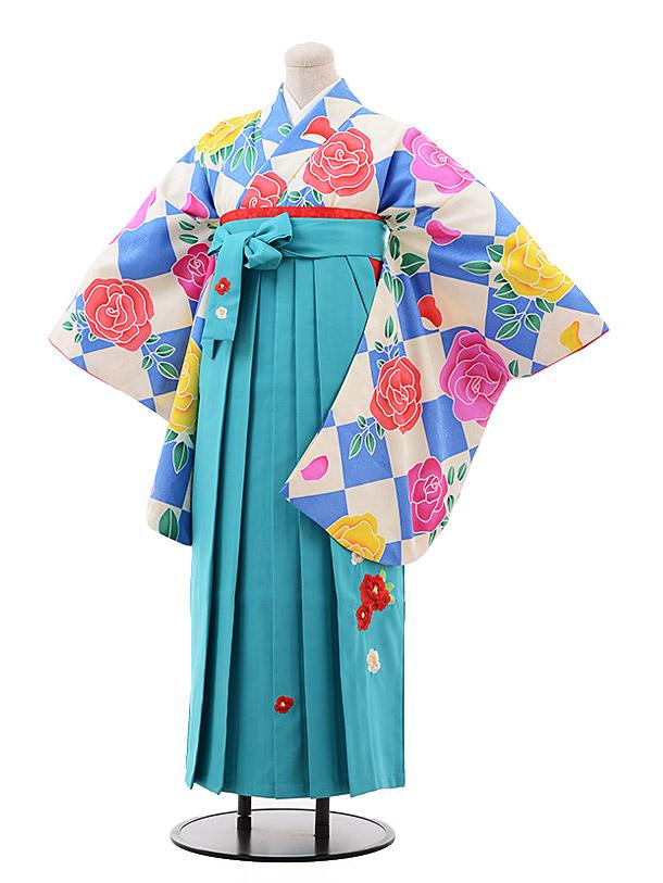 卒業袴レンタル h134 水色 バラ×ターコイズ袴