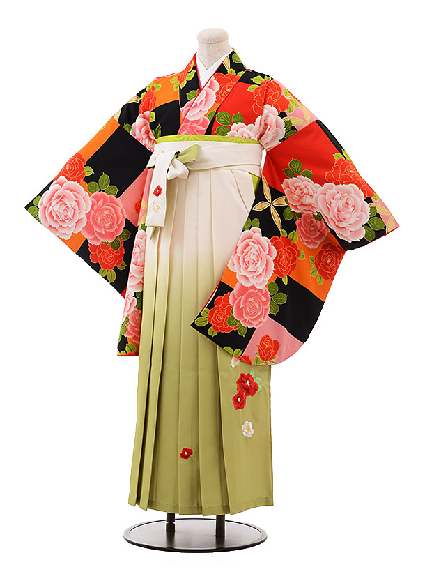 卒業袴レンタル h139 黒 ピンク バラ×クリームぼかし袴