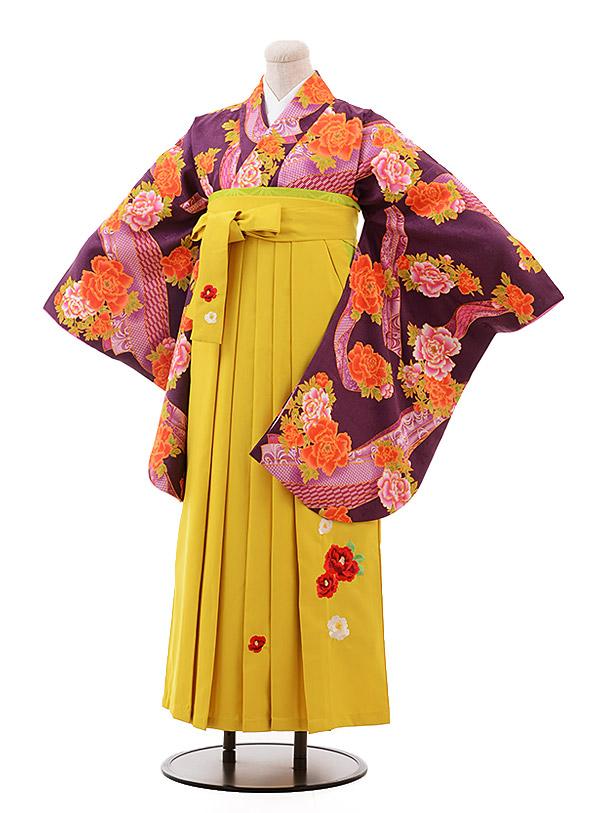 卒業袴レンタル h140 紫 ぼたん×イエロー袴
