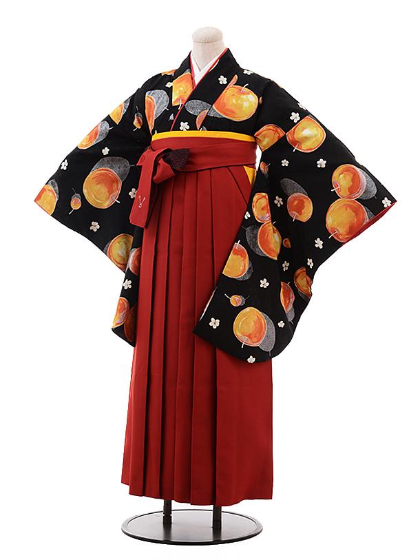 卒業袴レンタル  h142 モダンアンテナ 黒地 リンゴ×エンジ袴