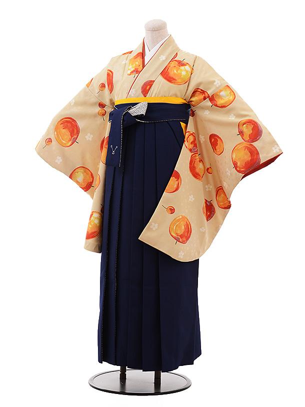 卒業袴レンタル h143 モダンアンテナ ベージュ リンゴ×紺袴