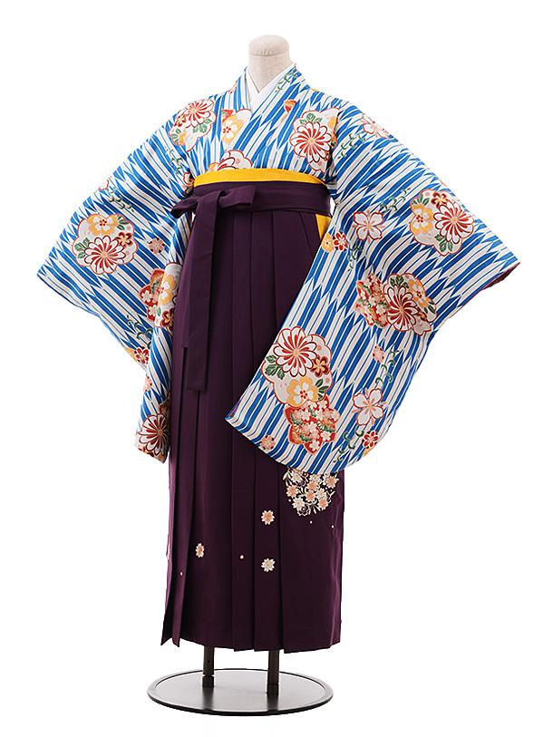 卒業袴レンタル h147 ブルー 矢柄 花×パープル袴