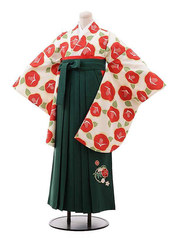 卒業袴レンタル h151 クリーム地 赤 椿×グリーン袴