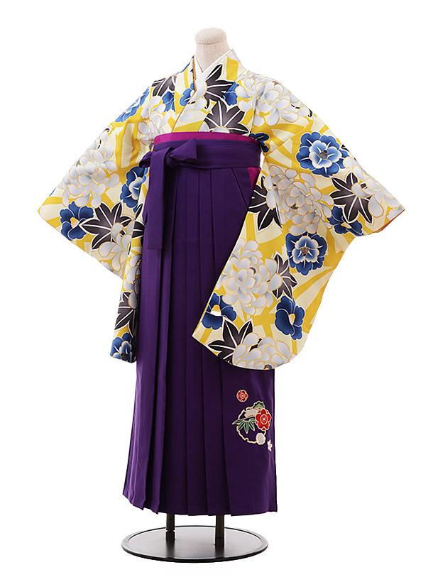 卒業袴レンタル h152 からし色 ぼたん×パープル袴