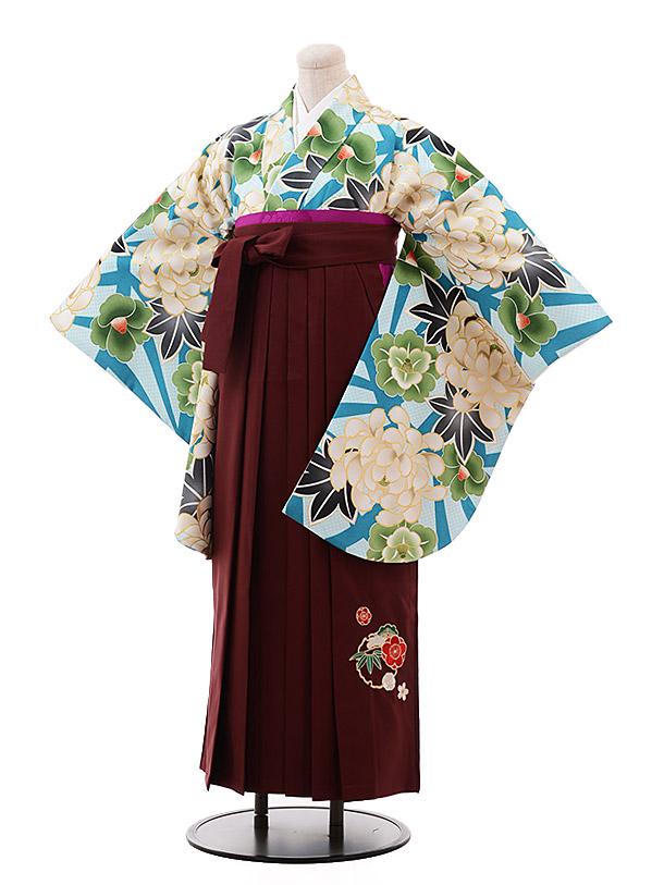 卒業袴レンタル h156 ターコイズ ぼたん×エンジ袴