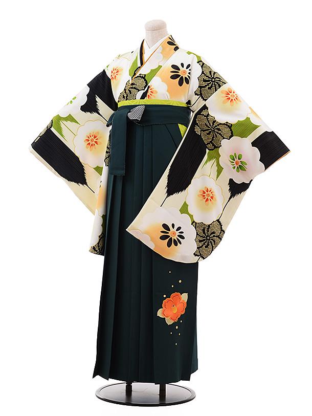 卒業袴レンタル h149 ブルー地 花×パープル袴