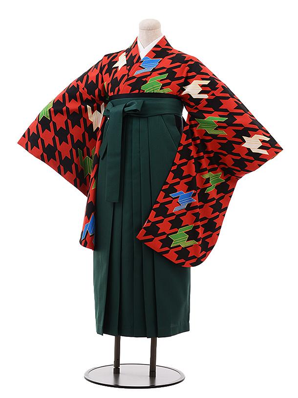 卒業袴レンタル h165 赤黒 千鳥格子×グリーン袴