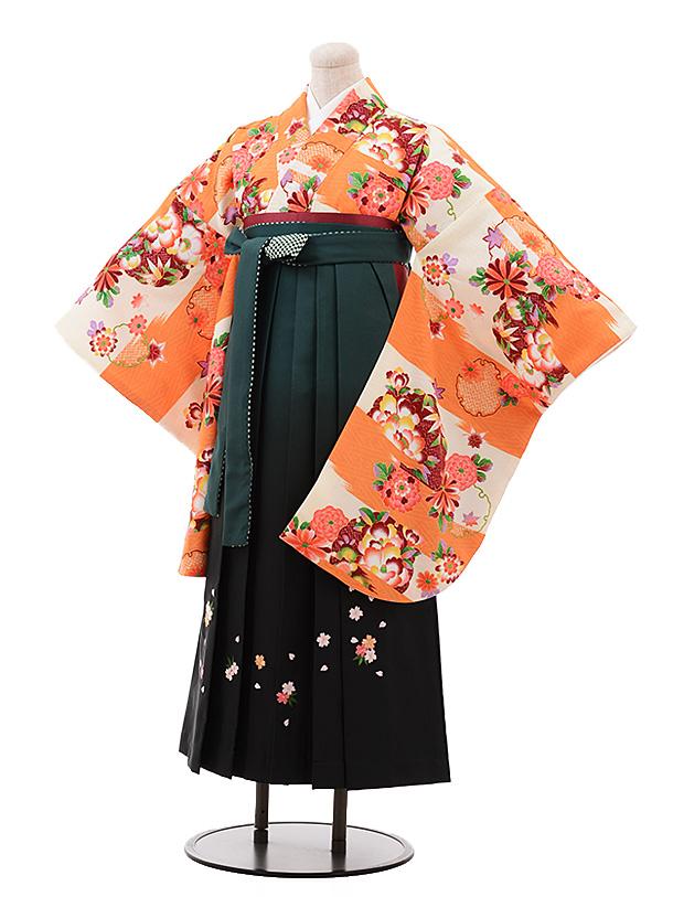 卒業袴レンタル h167 オレンジ 雪輪 花×グリーンぼかし袴