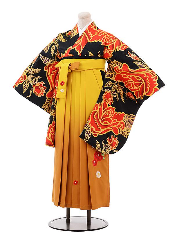卒業袴レンタル h175 黒地 赤バラ×からし袴
