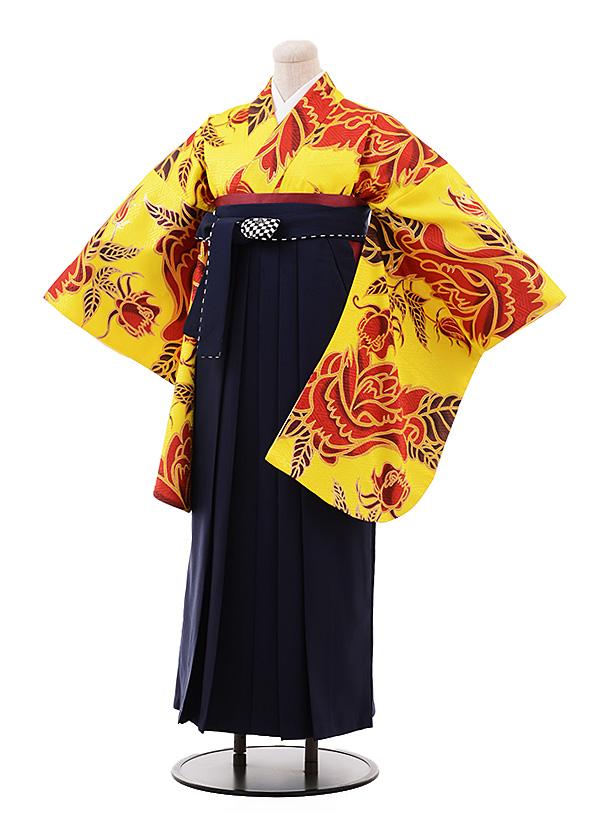 卒業袴レンタル h177 黄色地 赤バラ×紺袴
