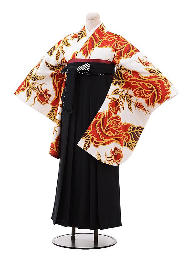 卒業袴レンタル h181 白地 赤バラ×黒袴